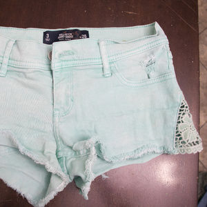 Hollister Mint Green Jean Shorts lace hem